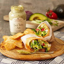 Load image into Gallery viewer, photo of avocado wrap sandwich made with Stonewall Kitchen Basil Pesto Aioli and potato chips