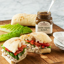 Load image into Gallery viewer, Chicken Salad Sandwich Salad On A Baguette With Lettuce, and Tomatoes Made With Stonewall Kitchen Bourbon Molasses Mustard