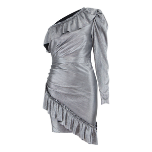 ONE SHOULDER SILVER METALLIC MINI DRESS
