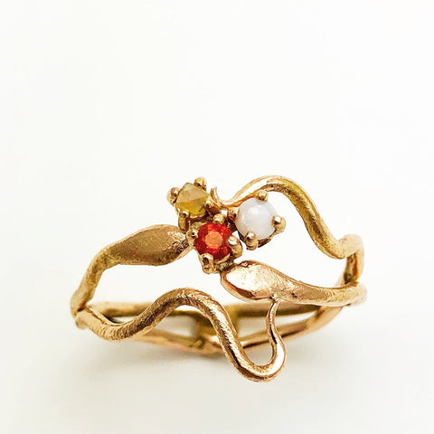 Gold Snake Ring, Opals, Ouroborous
