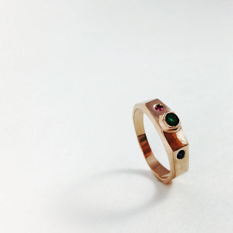Rose gold ring, Sapphire, Emerald and Ruby