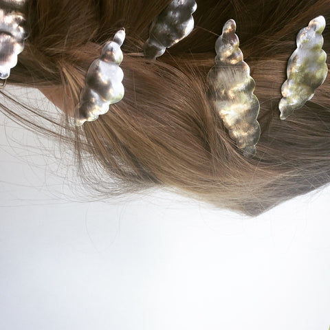 Sterling silver cloud barrettes