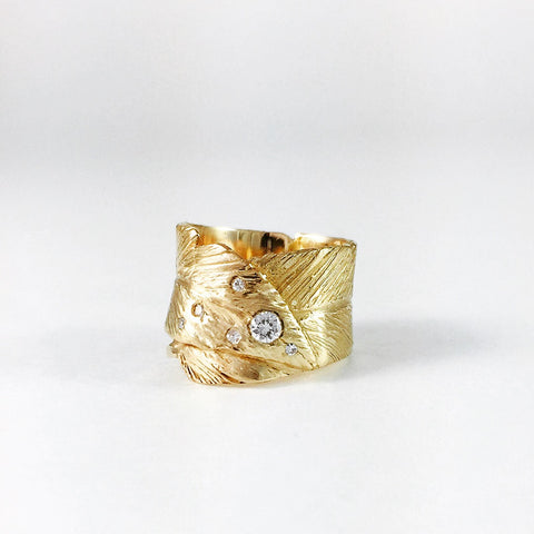 Feather ring, Yellow Gold, Diamond