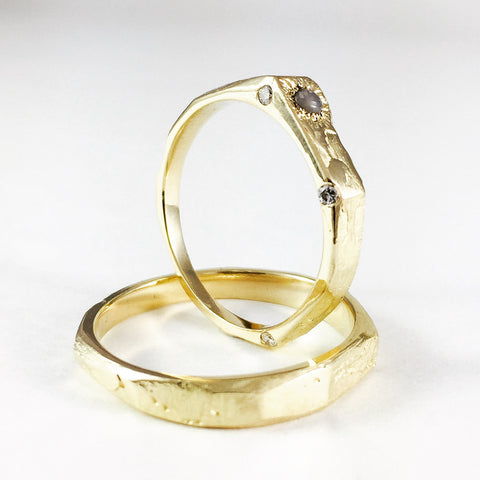 Gold rings, Diamonds, Agate, Wedding bands