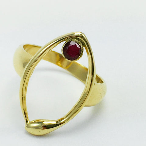 Gold ouroborous ring, Ruby