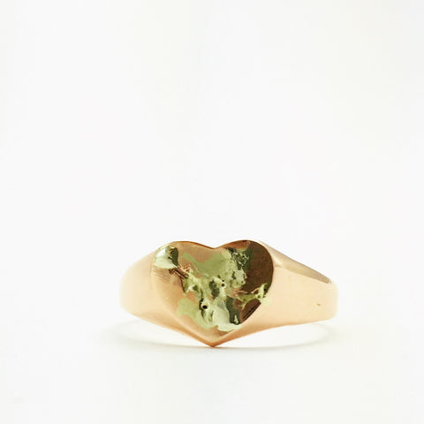 Heart ring, white gold, yellow gold