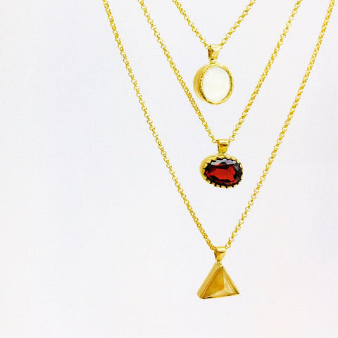 Three gold pendants for three daughters. Mother of Pearl, Garnet, and Yellow Diamond.