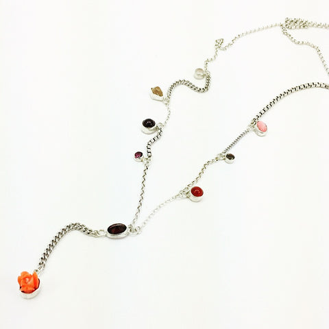 Necklace, Sterling silver, Antique Coral, Garnet, Carnelian, Adalusite, Topaz, Rose Quartz, Tourmaline, and Calcite