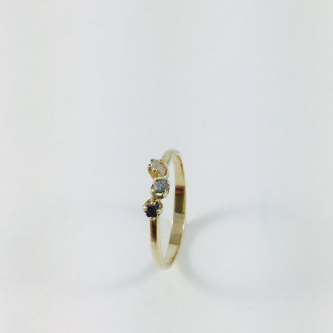 Gold ring with Black, Grey and White Diamonds