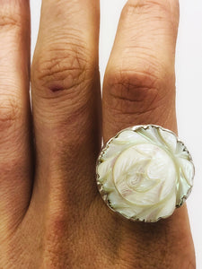 Ring with hand carved extra-large Mother of Pearl flower set in satin-finished Sterling Silver.