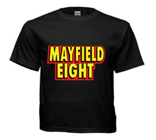 Load image into Gallery viewer, Black t-shirt Mayfield Eight logo
