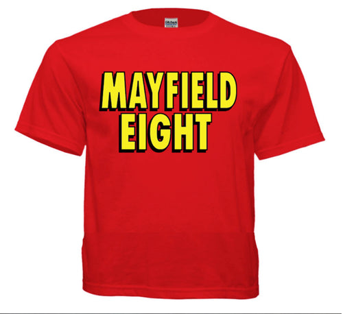 Red t-shirt Mayfield Eight logo