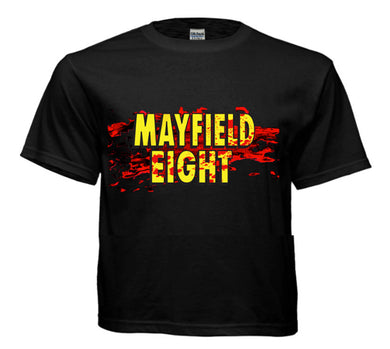 Black t-shirt with Splattered Mayfield Eight logo