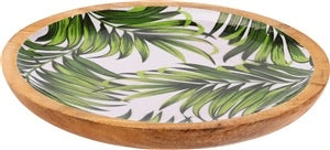 Green leaf wooden serving tray