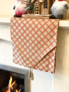 Linen with Red Glitter Table Runner