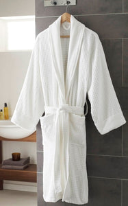 White Velour Cotton Bathrobe