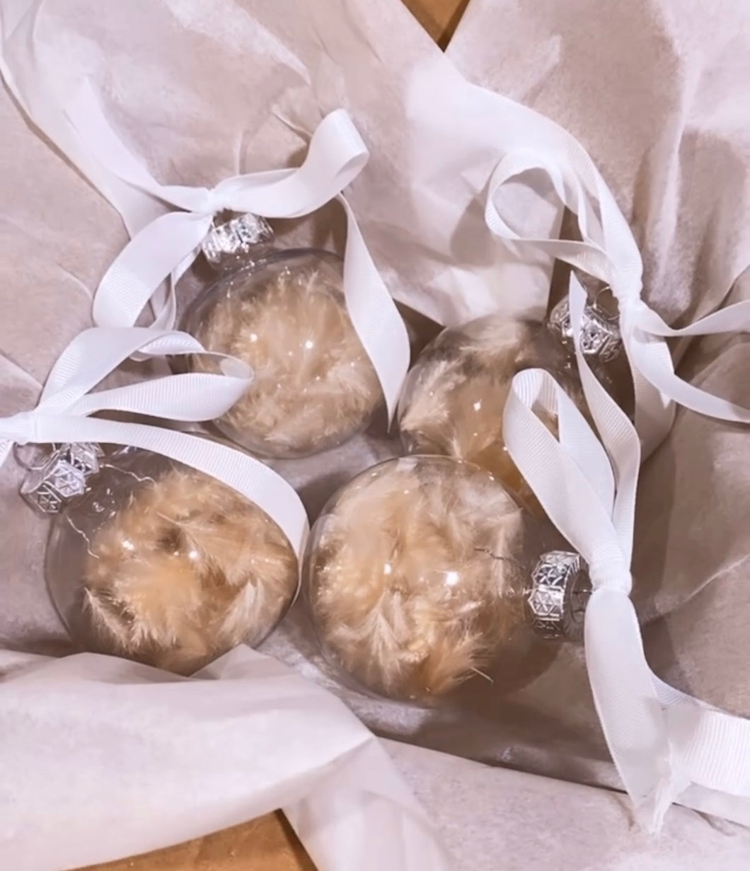 Set of 4 Pampas Grass Baubles
