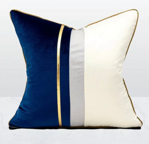 Luxe Velvet Panel Navy Cushions (feather filled)