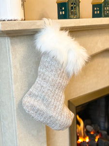 Neutral Knitted Stocking