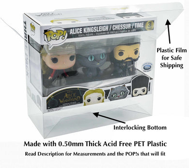 3-Pack Funko POP! Protectors Original Larger Size made with SCRATCH & UV RESISTANT 0.50mm thick PET Acid-Free Plastic