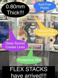 Super Thick 0.80mm 4 inch Funko POP! FLEX STACK Protectors made with PET Acid-Free Plastic - Replace your Pop Stacks today!