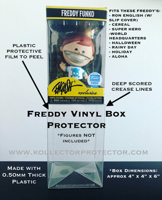 FREDDY FUNKO VINYL box protector (fits Ron English with slip cover on) Smaller Size Protector made with 0.50mm thick PET Acid-Free Plastic - Please Read Description