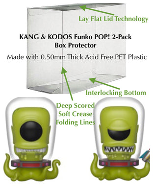 KANG & KODOS 2-Pack Funko POP! Protector made with SCRATCH & UV RESISTANT 0.50mm thick PET Acid-Free Plastic - Please Read Description
