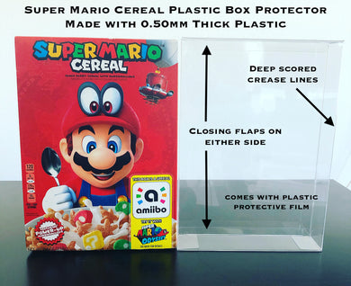 Super Mario Odyssey Amiibo Cereal Box Protectors made with 0.50mm thick PET Acid-Free Plastic