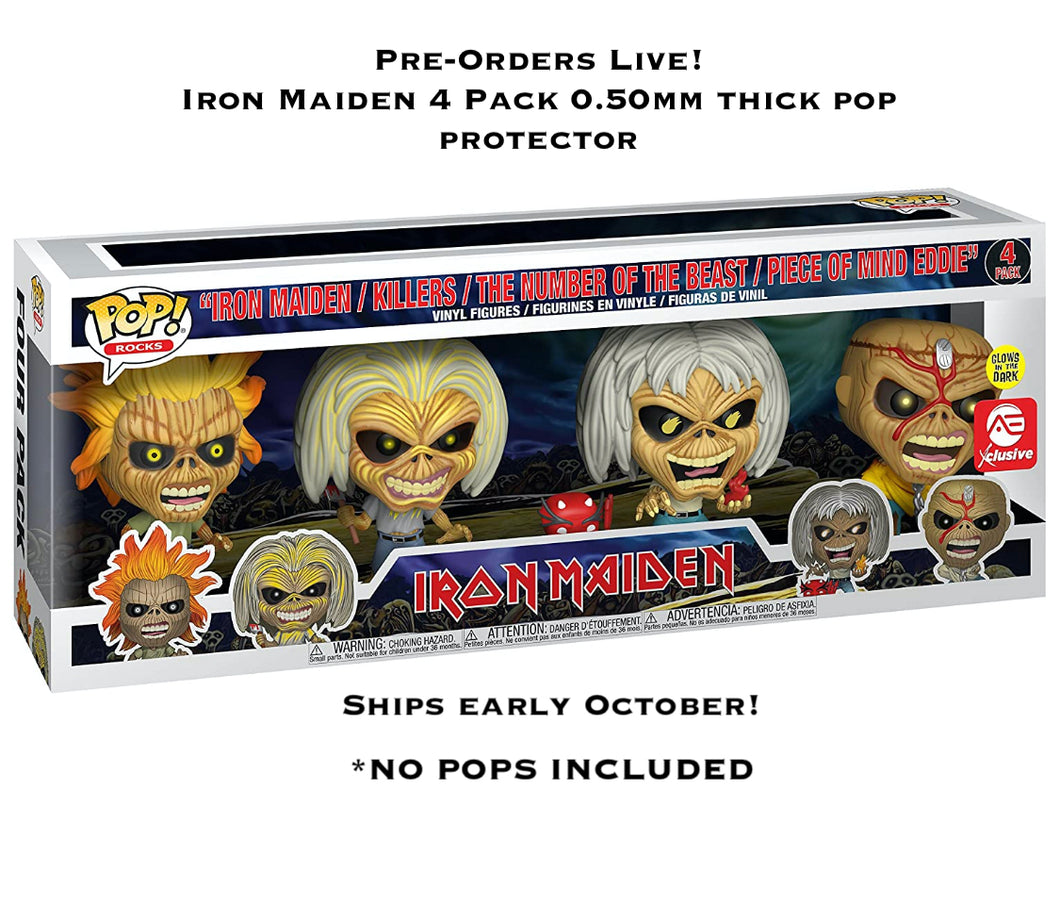 Iron Maiden 4-Pack Funko POP! Protector made with 0.50mm thick PET Acid-Free Plastic - ONLY FITS IRON MAIDEN 4 PACK