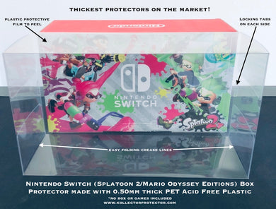 Nintendo Switch Mario Odyssey/Splatoon 2 Console Box Protector made with 0.50mm Thick Plastic - Sturdiest Protectors on the Market!
