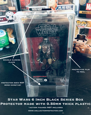 STAR WARS BLACK SERIES Box Protectors made with 0.50mm thick PET Acid-Free Plastic - Only fits 6 Inch Figures