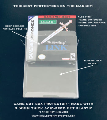 Nintendo Game Boy, GB Color, GBA, Virtual Boy Video Game Box Protectors made with 0.50mm thick PET Acid-Free Plastic - Thickest on the Market!