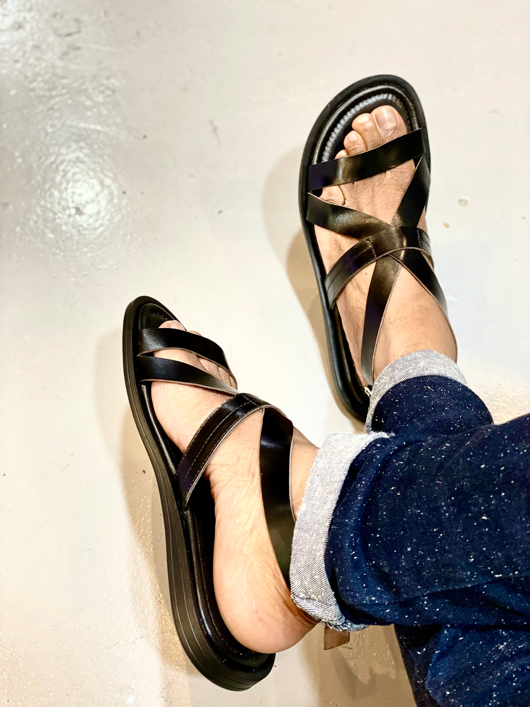 092- Lufiano Collection-Leather sandals- Black