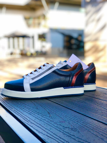 018 - LUFIANO collection Leather Sneaker- Navy