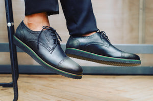 Classic genuine leather smart casual: Olive and black