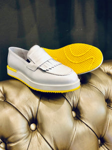067- Lufiano Leather loafer - white