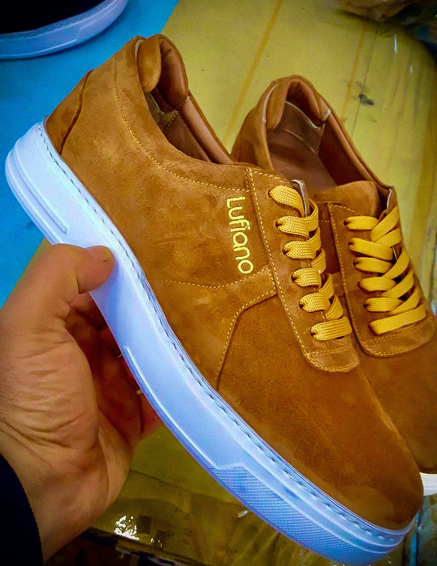 055 - Lufiano Suede Leather Sneaker- Bronze