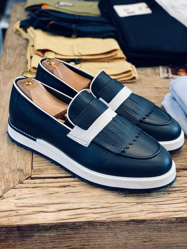 067- Lufiano Leather loafer - Blue
