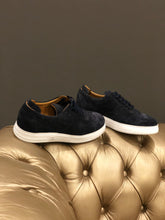 Load image into Gallery viewer, 055 -Lufiano Collection - Suede Leather Sneaker- Dark Blue