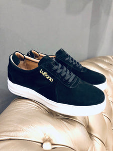 055 - Lufiano Suede Leather Sneaker- Black