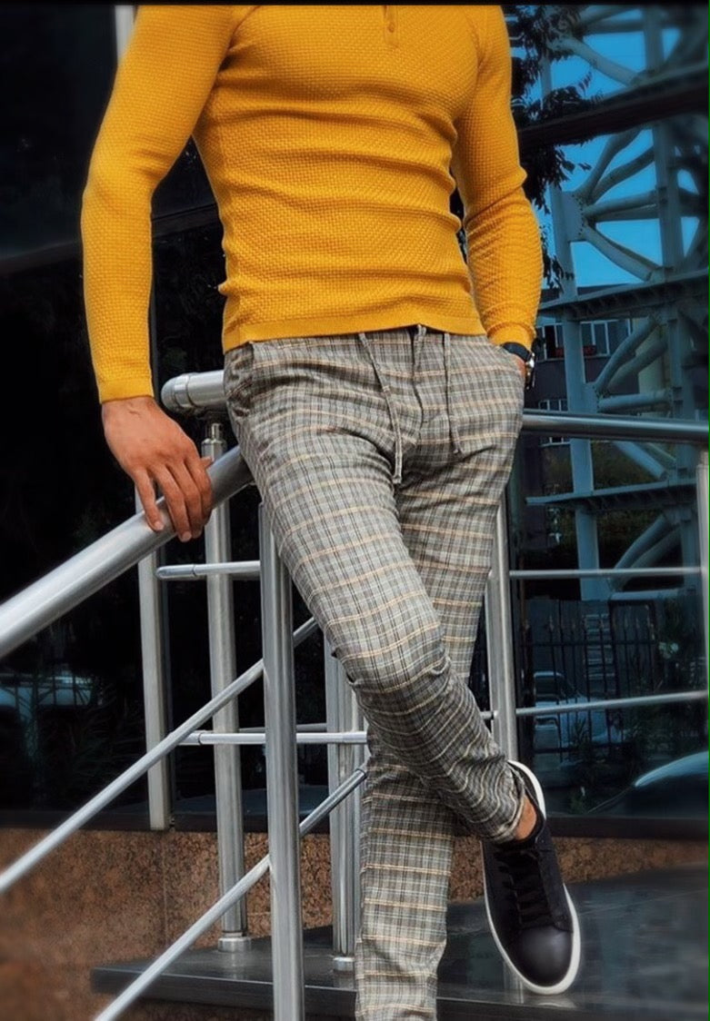 38775 checked pants: yellow