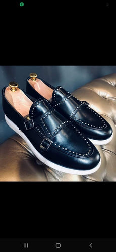 006B - Double Monk strap - studded - Black
