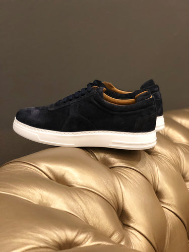 055 -Lufiano Collection - Suede Leather Sneaker- Dark Blue