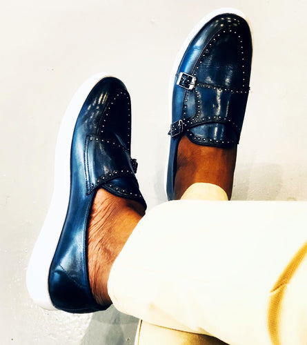 006B - Double Monk strap - studded - Blue