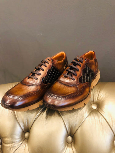 019 - Fabio Divayo Leather Sneaker- Brown