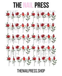 DECALS - RED ROSES - The Nail Press
