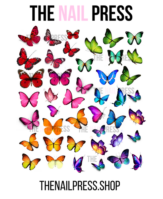 DECALS - RAINBOW BUTTERFLIES - The Nail Press