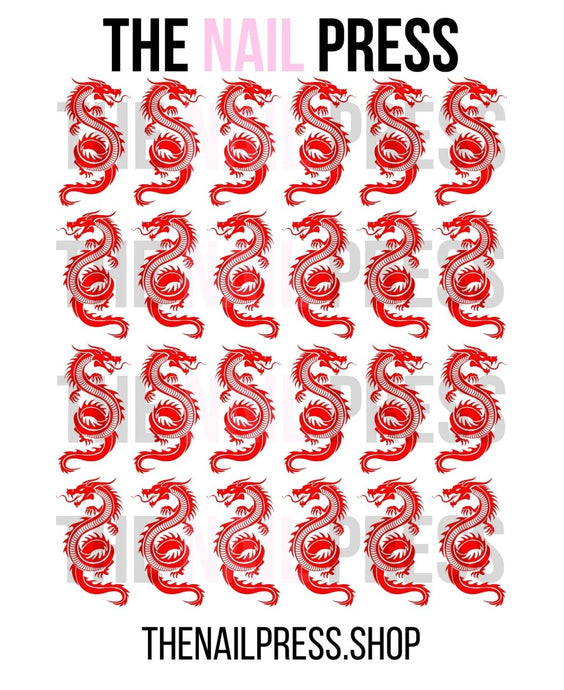 DECALS - DRAGONS MEDIUM RED - The Nail Press
