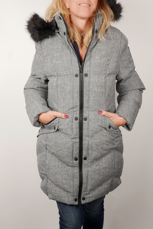 Oxygen V stitch quilted coat
