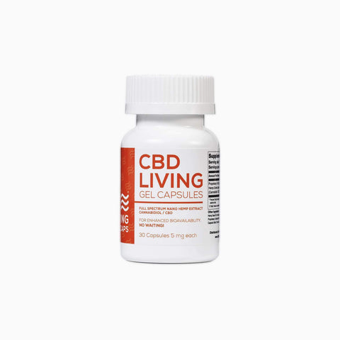 CBD Living 5 mg - 30 Count Gel Capsules 150 MG Total - BODY100